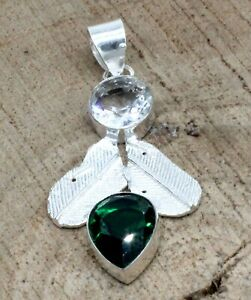 """925 Sterling Silver Chrome Diopside & Topaz Gemstone Jewelry Pendant Size-2"""""""