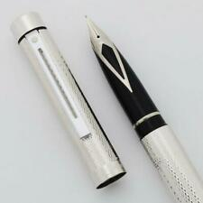 Sheaffer TARGA 1008 Fountain Pen - Silver Plated Barleycorn, Med Steel Nib (New)
