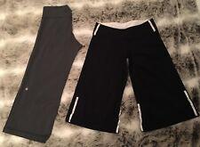 Lululemon Size 6 Lot Of 2 Black Long Relax Fit Shorts & Gray Capri Pants Woman