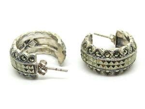 "Vintage ""JJ"" Judith Jack Marcasite 925 Sterling Silver Screw Back Earrings"