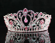 GORGEOUS PINK AUSTRIAN RHINESTONE CRYSTAL TIARA CROWN BRIDAL PROM PAGEANT H1339P