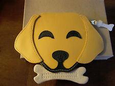 New Leather Yellow Lab Labrador Dog With Bone Coin Bag Purse Loop for Belt