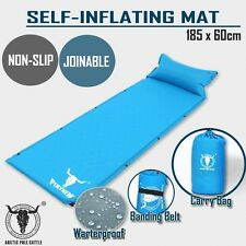 Air Bed Self Inflating Mattress Sleeping Mat Camp Camping Hiking Joinable Blue