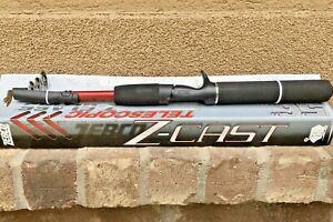 "ZEBCO TELESCOPIC Z-GLASS 5'6"" Casting Rod 18"" Folded w Tip Protector NEW"