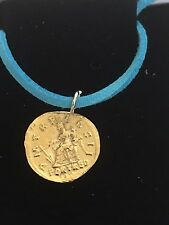 "Aureus Of Hadrian Coin WC59 Gold English Pewter On a 18"" Blue Cord Necklace"