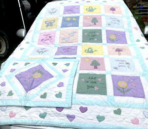 Vintage Quilt Twin xl roses are red  Comferter w Case Reversable Hearts Birds