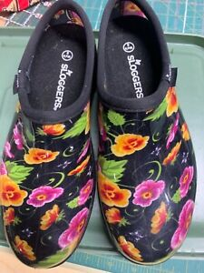 Sloggers Womens Garden Rain Shoes Black Floral Pansy Made USA Size 8 EUC