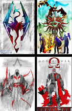 Skyrim Dragon Age Assassin's Creed God of War Gamer Art (4) LOT 11 x 17 prints