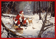 "5x8 Milliken Christmas Party Forest Feast Santa Area Rug - Approx 5'4""x7'8"""