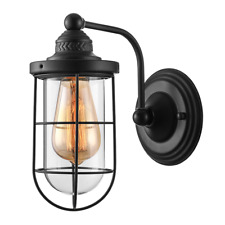 Industrial Rustic Single Outdoor Wall Sconce Fixture Finished Black Wall Light