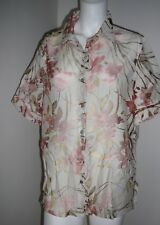 Millers Ladies Top Size 18 Short Sleeve Beige Sheer Summer Button Down BNWT