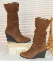ENZO ANGIOLINI Brown Suede Leather Women's Wedge High Heel Boots Size 8.5 GUC