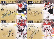12-13 SP Authentic Jaden Schwartz Auto Sign Of The Times Team Canada 2012