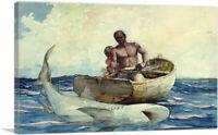 ARTCANVAS Shark Fishing 1885 Canvas Art Print by Winslow Homer