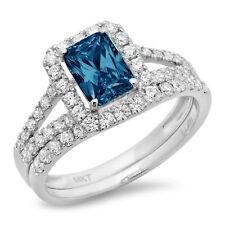 1.60 Emerald Round Halo London Blue Topaz Promise Bridal Ring set 14k White Gold