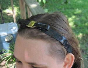 Shiny Black Plastic Goody Fashinow Hairwrap Hair Head Band Gold Medallion Bow