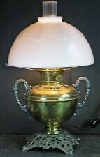Antique Bradley Hubbard Oil Lamp Snake Handles Milk Glass Shade Rochester Abco