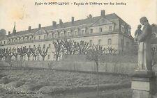 CP ECOLE DE PONT-LEVOY FACADE ABBAYE VUE DES JARDINS