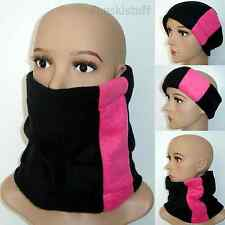 ladies girls woman Neck face warmer scarf snood BLACK / HOT PINK fleece cowl ski