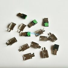 5Pcs Micro USB 4 Pin Type-A Male 3-Piece NO Solder Connector Plug Metal Cover G