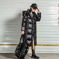 Womens 2020 Korean Fashion Shiny Hooded Padded Warm Long Jacket Coat Outwear SKG