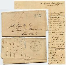 GB to PORTUGAL 1838 LETTER 350 ACCOUNTING in BLUE THOS.BOYS PENTONVILLE..MISSION