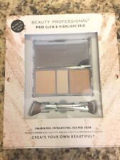 Beauty Professional Pro Glow and Highlight Trio with Dual Ended Brush Palette