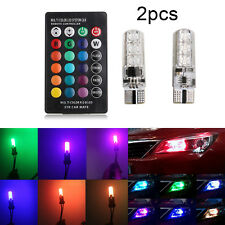 2x T10 LED 6SMD 5050 Remote Control RGB Canbus Color Changing Car Interior Light