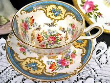 GROSVENOR TEA CUP AND SAUCER HENLEY TEACUP BLUE FLORAL ROSE PAINTED CUP
