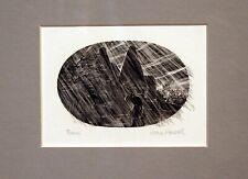 "wood block print ""Rain"" signed Joan Hassall framed miniature"