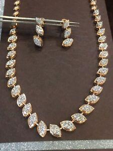 2.49 TCW Round Brilliant Cut Diamonds Necklace Earrings Set In 585 Fine 14K Gold
