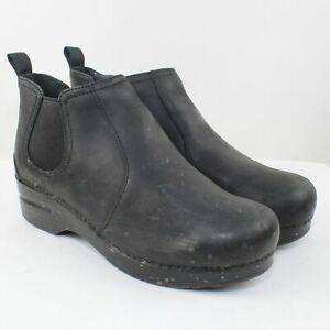 Dansko Ladies Black Leather Mid Cut Clogs Size 9