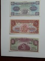 GREAT BRITAIN Money MILITARY Voucher One Pound x 2. 10 shillings lot of 3