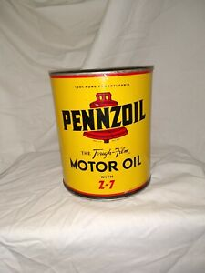 Vintage Pennzoil Motor Oil Four Quart 4 qt Tin Can w/ Bell Graphics