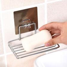 Stainless Steel Soap Dish Holder Wall Mount Sponge Draining Hanger Towel Hooks `