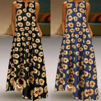 UK Womens Summer Floral Maxi Dress Casual Ladies Vintage Patchwork Long Sundress