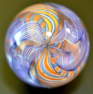 "JAMES ALLOWAY GLASS MARBLE/1.309""-SUPERNOVA 2 # 122-4 FILIGRANA LAVENDER&DICHRO."