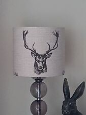 HANDMADE 20cm FABRIC LAMPSHADE STAG HEAD ANTLERS DEER COUNTRY COTTAGE FRYETTTS