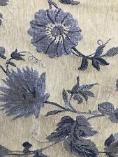 Cream Blue Floral Chenille Upholstery Fabric (54 in.) Sold By The Yard