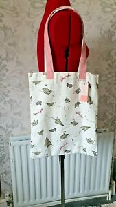 Radley Cotton Tote Bag BNWT  'Plain Sailing ' 16 x 13.5 inch pink /white straps