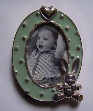 cadre photo bébé enfant vert motif lapin, coeur