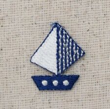 Iron On Embroidered Applique Patch Small Mini Blue and White Sailboat