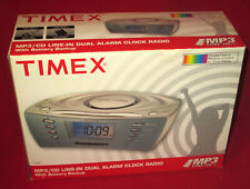 New in open box Timex Mp3/Cd Line in Dual Alarm Clock Radio With Battery Back up