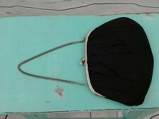 Vintage INGBER Kiss Lock Evening Bag Black Satin Handbag with Mirror
