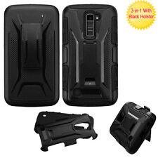 NEW For LG K10 PHONE BLACK RUGGED HYBRID SKIN STAND CASE COVER + CLIP HOLSTER
