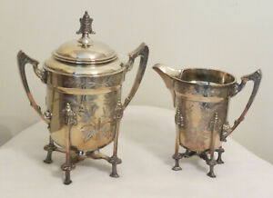 Elegant Antique Silver Plated AURORA Aesthetic Footed Creamer & Sugar