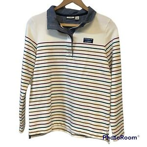 LL Bean Women's Small Multi Striped Henley Rugby Pullover Sweater 1/4 Button