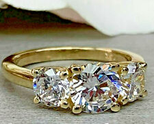 3.93Ct Round cut Three stone Diamond Engagement Ring Band Solid 14K Yellow Gold