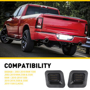 Smoked LED License Plate Rear Bumper Lights For 03-18 Dodge Ram 1500 2500 3500