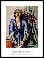 Max Beckmann Quappi in Blau mit Lilien Poster Bild Kunstdruck und Rahmen 90x70cm